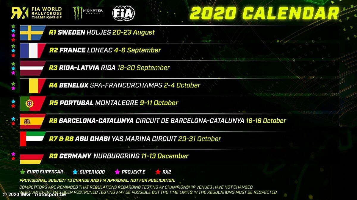 Voorlopige kalender World RX 2020