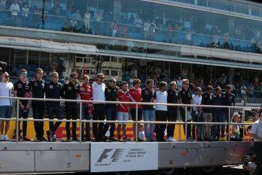 Piloten tijdens Italiaans volkslied F1 GP Italië 2015