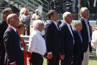 Bernie Ecclestone en Mario Renzi op de starting grid van de  GP F1 Monza