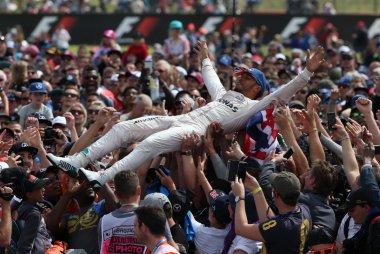 Lewis Hamilton crowdsurfing