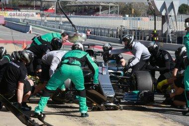 oefening pitstop Valtteri Bottas - Mercedes