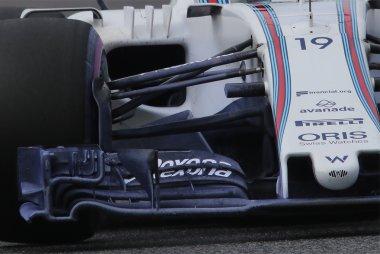 Detail voorvleugel Williams FW40 met verfresten om luchtstromen te visualiseren