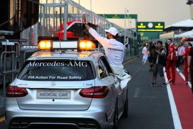 Lewis Hamilton in Medical Car