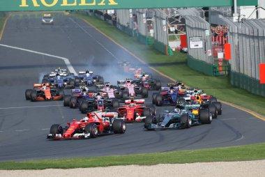 Eerste bocht F1 GP Australië 2017