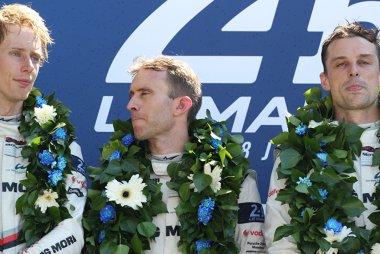 Brendon Hartley, Timo Bernhard en Earl Bamber - winnaars 2017 24 Hours of Le Mans
