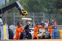 De crash van Thomas Preining in de beginfase