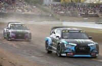 Andreas Bakkerud en Liam Doran in hun Audi S1 WRX