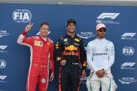 Sebastian Vettel, Daniel Ricciardo en Lewis Hamilton