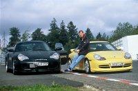 Walter Röhrl bij de Porsche 911 Turbo 3,6 Coupé en de Porsche 911 GT3 in 1999 bij de recordpoging op de Nürburgring