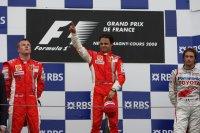 Podium Grote Prijs van Frankrijk 2008 - Kimi Räikkönen - Felipe Massa - Jarno Trulli