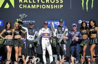 Laatste podium van 2018 met Kristoffersson, Ekström, Loeb & Solberg
