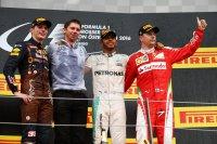 Max Verstappen, Lewis Hamilton en Kimi Raikkonen