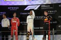 Sebastian Vettel, Lewis Hamilton en Max Verstappen