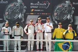 Podium na  Blancpain sprint series Zolder 2015 hoofdrace