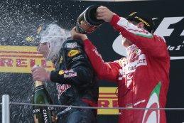 Max Verstappen GP Spanje 2016 krijgt champagne douche van Vettel