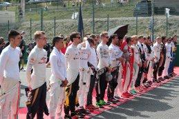 Piloten tijdens Belgisch volkslied F1 GP België 2016