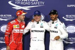 Sebastian Vettel, Valtteri Bottas en Lewis Hamilton