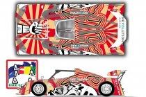 Opvallende Revolution A art car aan de start in Spa-Francorchamps