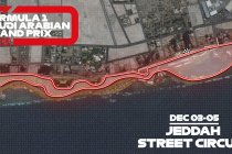 Het Jeddah Street Circuit in Saoedie-Arabië virtueel getoond